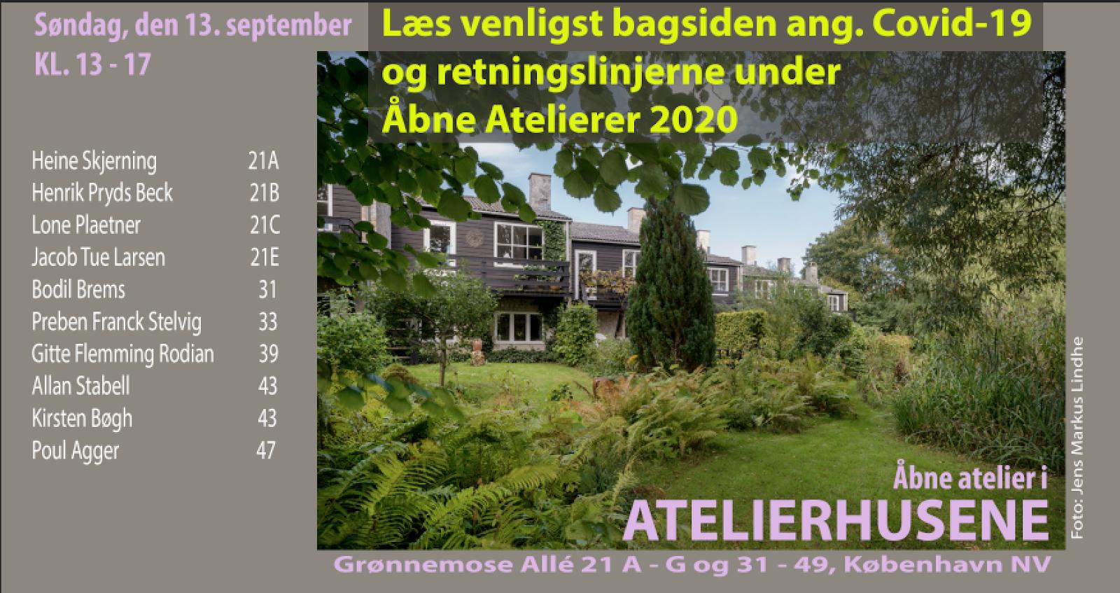 OPEN ATELIERER 13-09-2020,  13 – 17